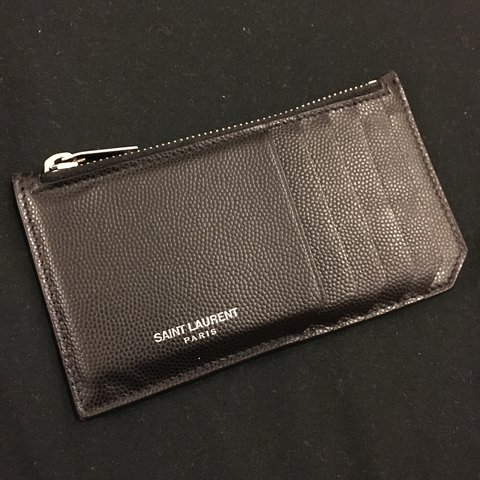 bb436fbf5f6a9 BLACK GRAINED LEATHER SAINT LAURENT PARIS CARD HOLDER WITH - Depop
