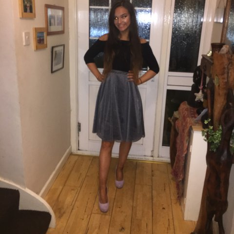 3c731e3d90 grey silver sparkly fifties style tulle flared puffy skirt a - Depop