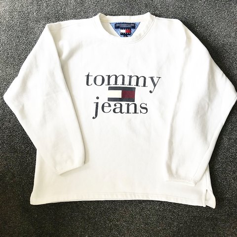 7c935359 @samjmc_. 9 months ago. Worcester, United Kingdom. Tommy Jeans Hilfiger  white sweatshirt. WILL GO LOWER!! SEND ME OFFERS ...