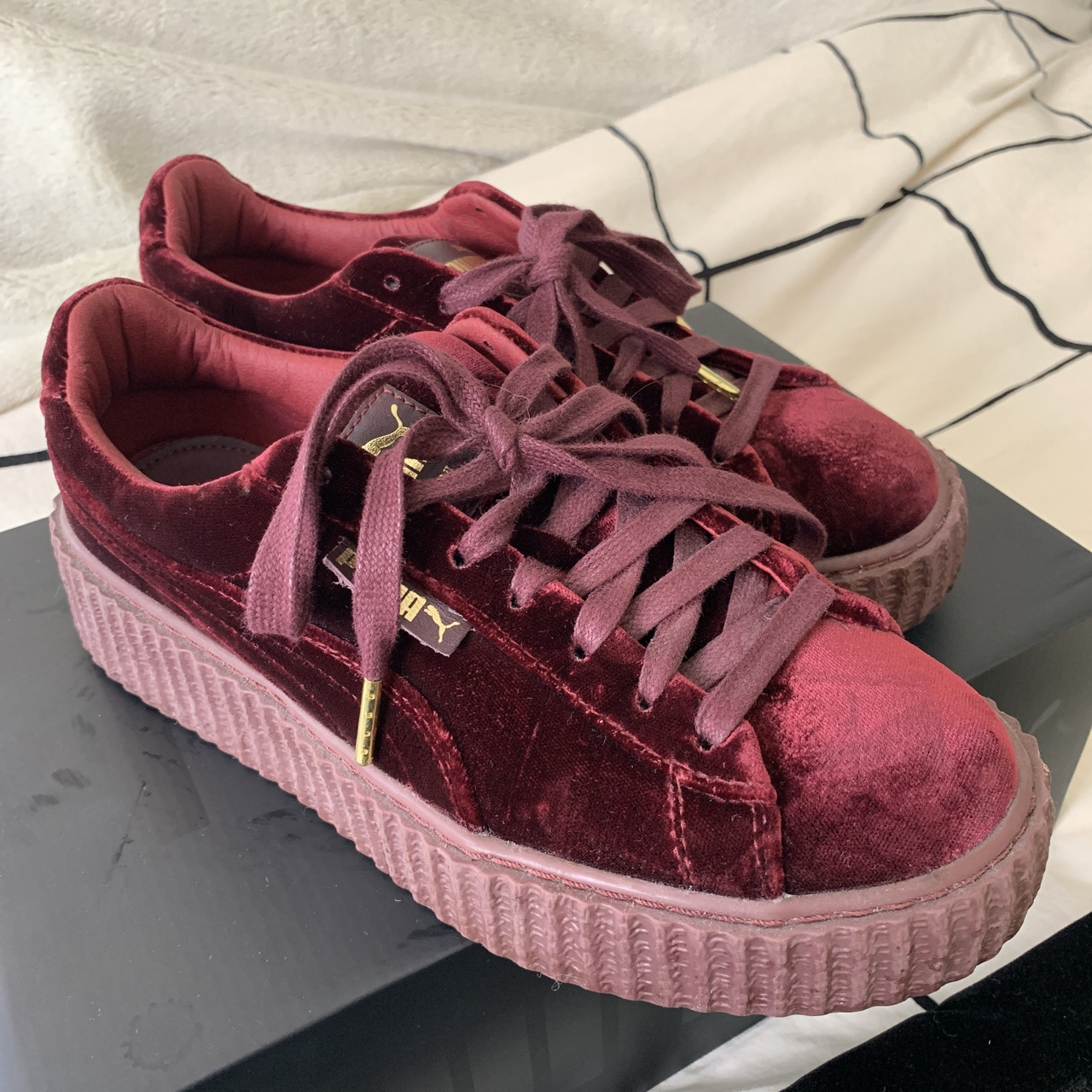 cheap for discount d699e cd08b Puma creepers. Rihanna red velvet creepers. Size... - Depop