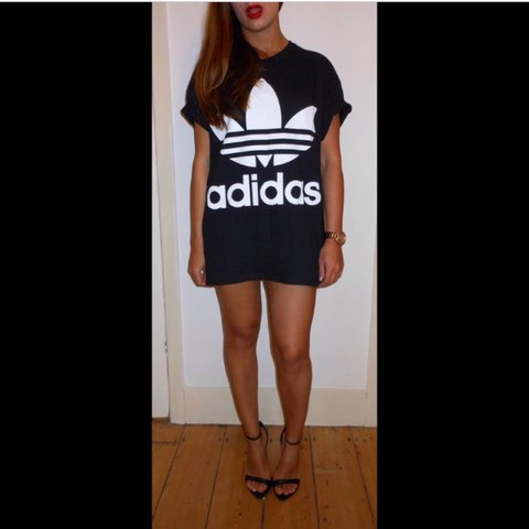 ae870db86ddc @paulamcx. 2 years ago. Gourock, United Kingdom. Oversized adidas black and white  tshirt/dress. Would fit ...