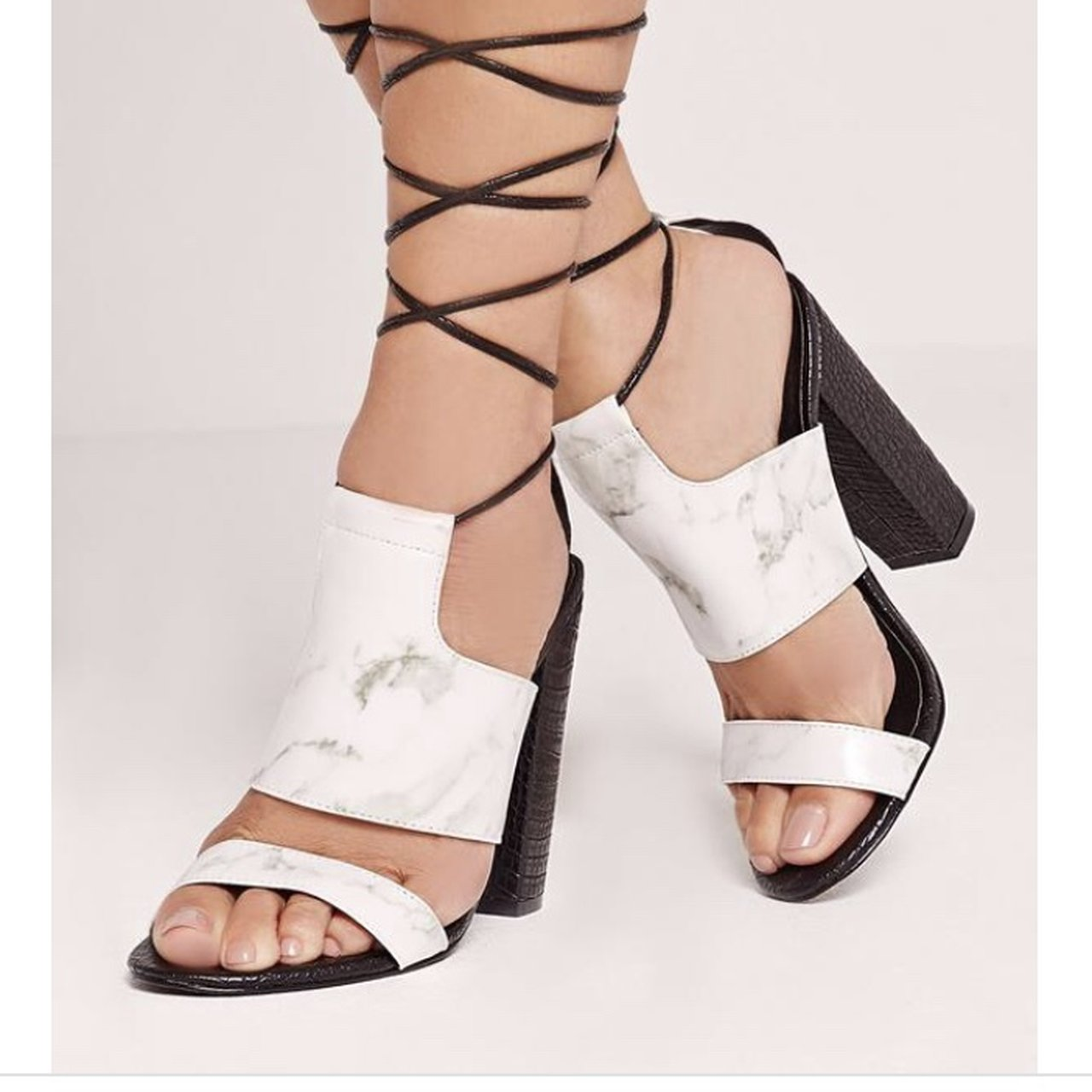 631d7b3affe White marble lace up block heel size missguided worn once depop jpg  1280x1280 Marble heels