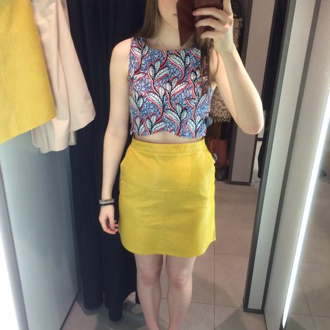 cc718fe4bec8 Zara skirt size small - would fit an 8 or small size yellow - Depop