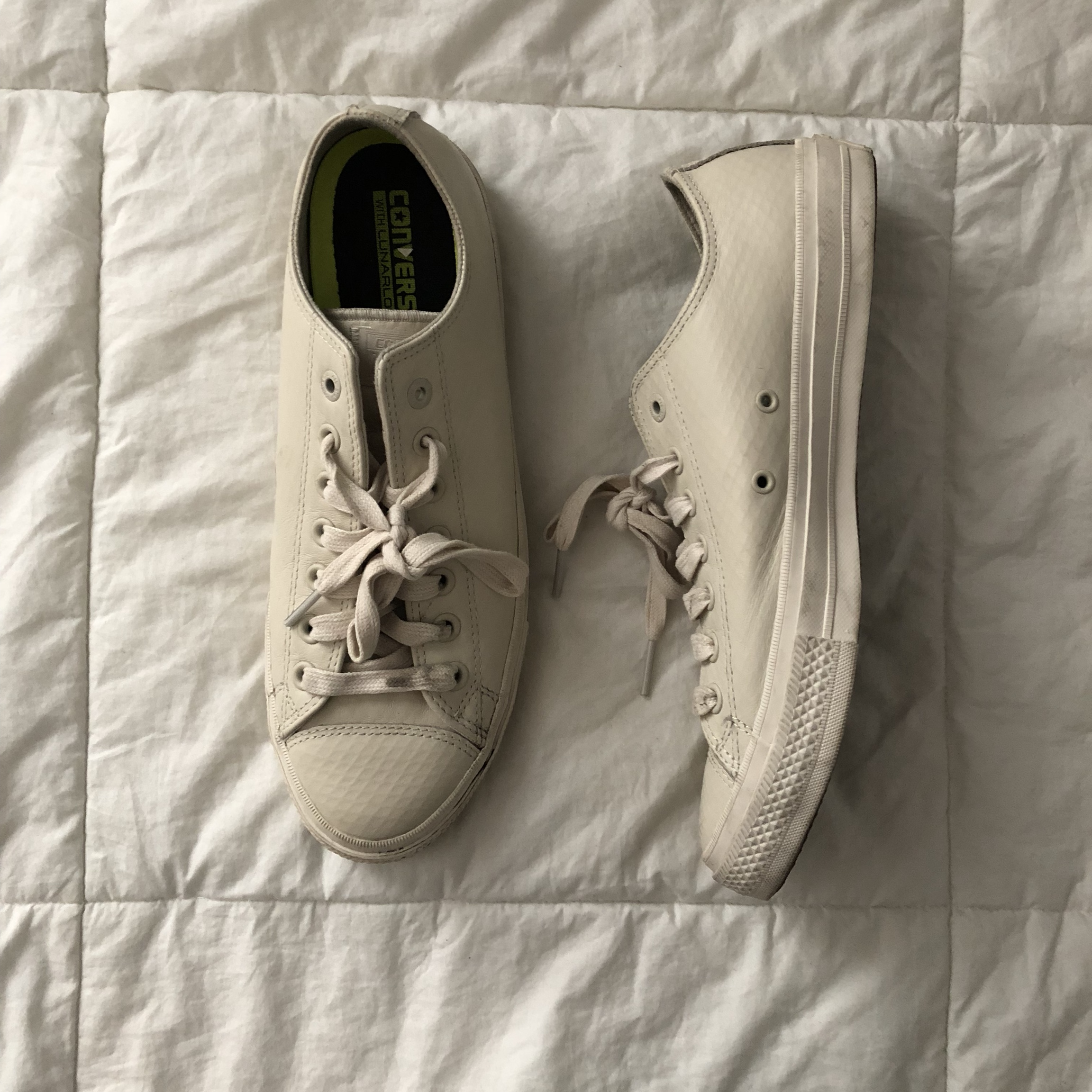 Converse Chuck Taylor II, white leather. Size 10. Depop