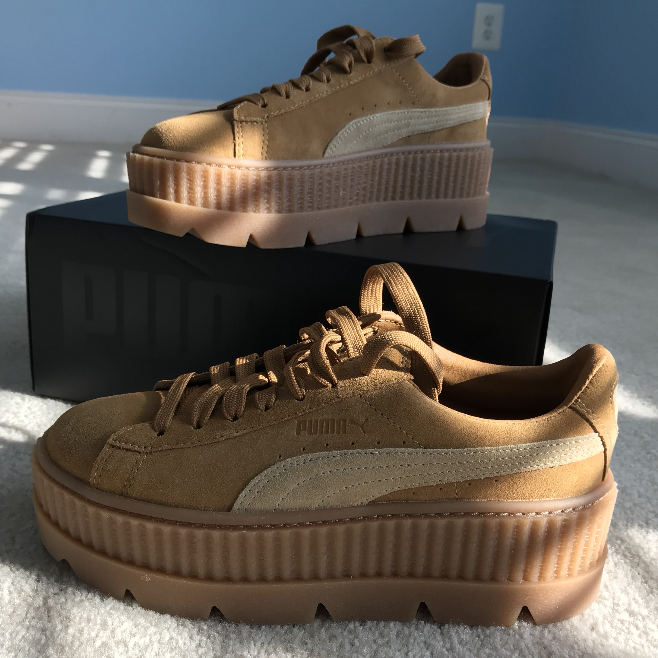 online store 7421d 873e8 PUMA X FENTY Cleated Creepers Golden Brown or Tan... - Depop