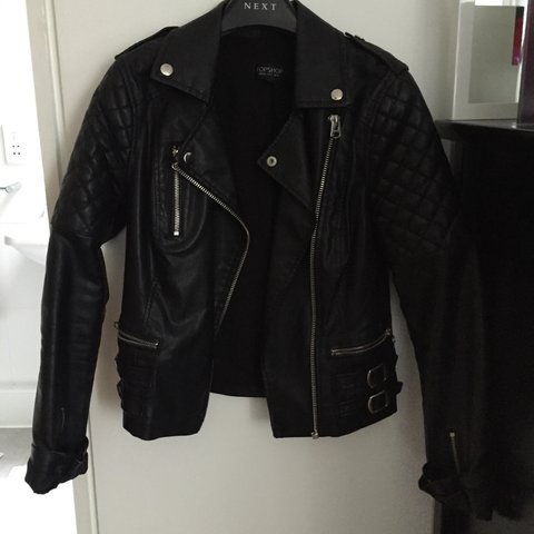 Topshop Black Faux Leather Jacket With Quilted Shoulders Uk Depop
