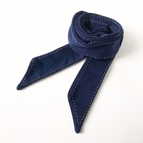 b28eb03687ce Navy Ribbon Dark blue fabric ribbon. White top stitch the - Depop