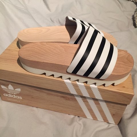 ccd2cfeb5165 brand new with tags adidas adilette wooden slides sliders. I - Depop