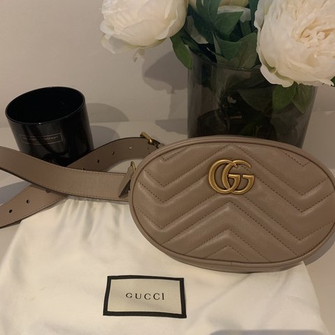 a54166f0a3ba @kemitao. last month. London, United Kingdom. Gucci Marmont belt bag in  Dusty pink chevron leather ...