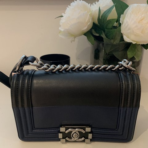 97fb60bad266 @kemitao. 2 months ago. London, United Kingdom. Chanel boy bag in black &  blue - size Small - shiny silver hardware