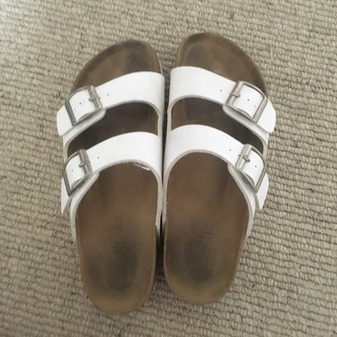 408049042d6 White fake Birkenstocks from dotti. Worn a lot but in good - Depop