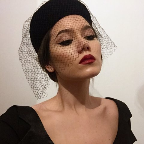 71e32c0e6 @anne_adette. 2 years ago. Derby, United Kingdom. Vintage Black Velvet Pillbox  Hat with Birdcage Veil.