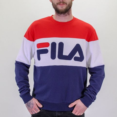 3240f011c46d Vintage Fila logo sweater jumper Large. In great condition 1 - Depop