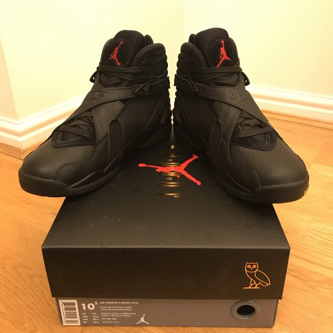 627d5c9f3cf874 Air Jordan 8 Retro OVO Black  Blur-Metallic Gold 🇬🇧SIZE  - Depop
