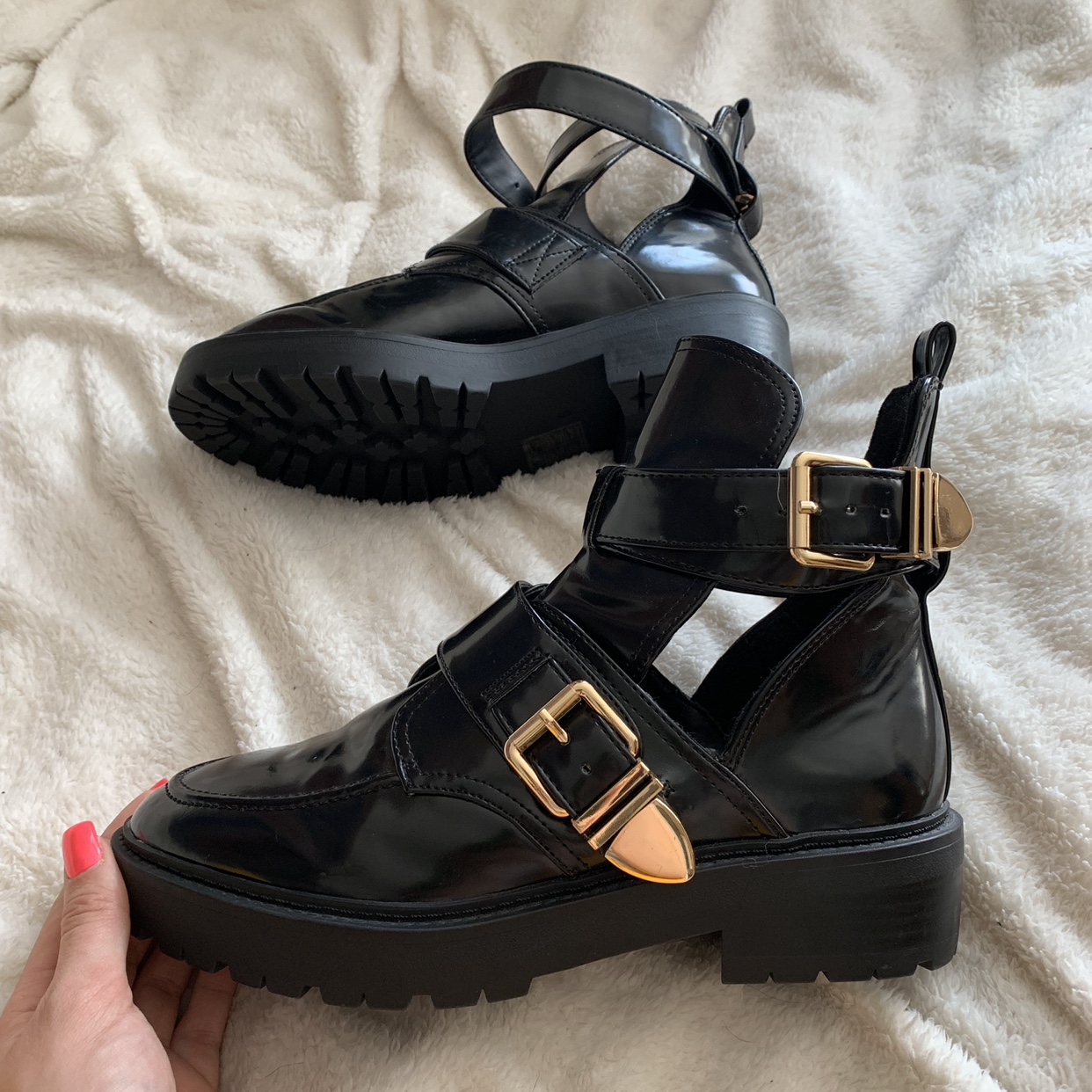 Black gloss cut out chunky ankle boots