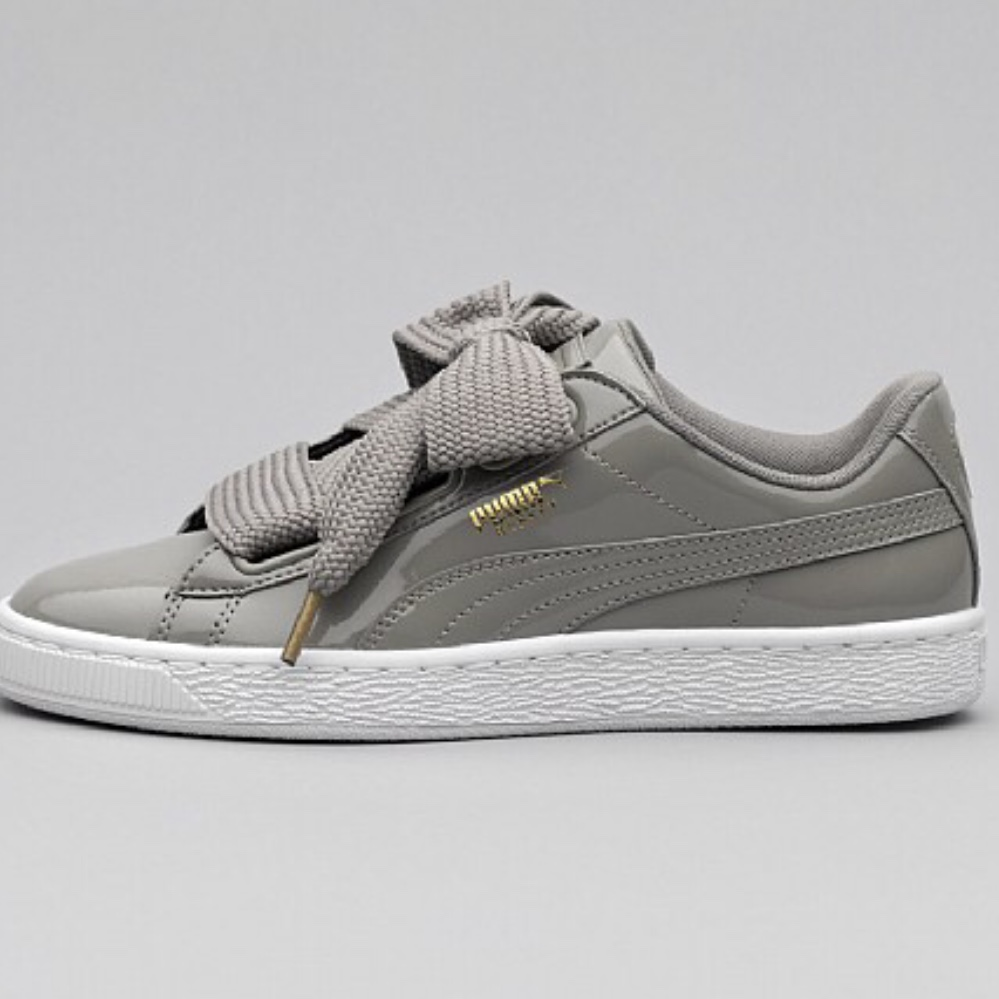 cheap for discount 41bea 00572 Grey Puma Basket Heart Patent trainers. Worn once... - Depop
