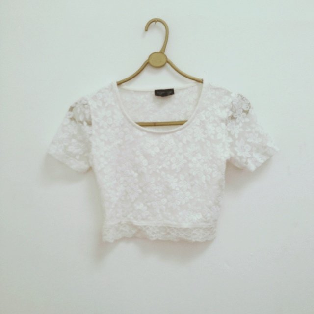 Being sold lace crop top topshop white floral lace top depop mightylinksfo