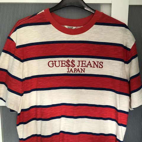 12bb174c57c2 @gam73. 3 months ago. Bristol, United Kingdom. A$AP Rocky x guess jeans tee.  Rare Japan edition. Red, white and blue stripes.