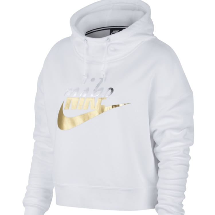 Nike hoodie white and gold, high neck