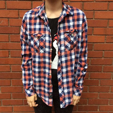 f2811c297 Red White And Blue Plaid Shirt From Army Navy Men S Small Depop