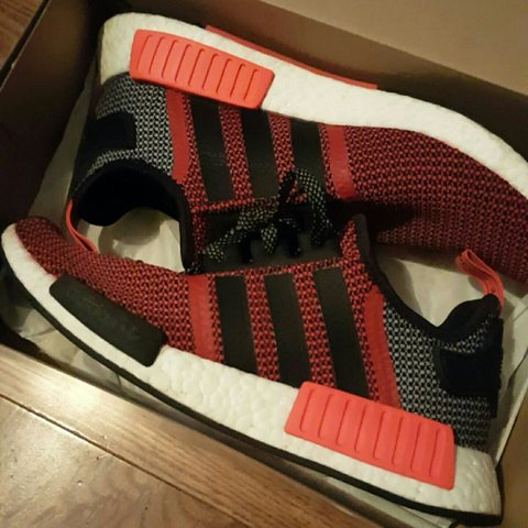 63dd0b323 Lush Red NMDs in very good condition. Size US 9  adidas  nmd - Depop