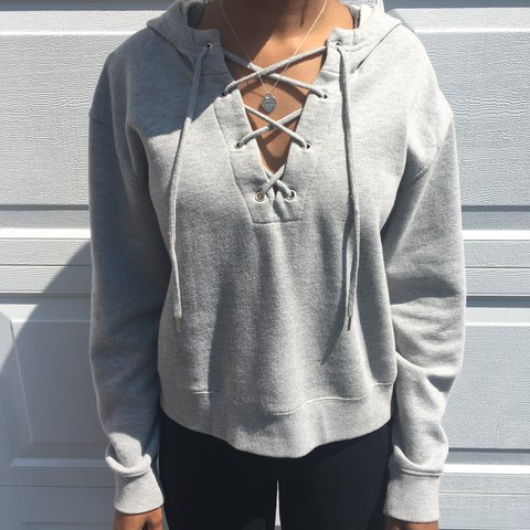 79bdc4280a Pacsun L.A. Hearts Lace Up Hoodie  grey  hoodie  laceup - Depop
