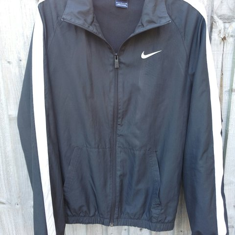 Vintage Nike track jacket Black with white chest mens to - Depop 5546d3f74