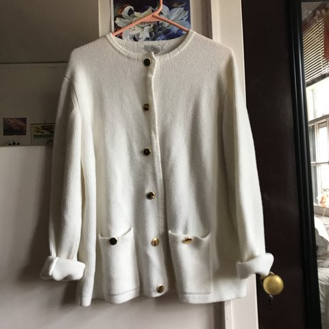 Chunky white cardigan sweater!! So warm and comfy!! 100% and - Depop a007c9997