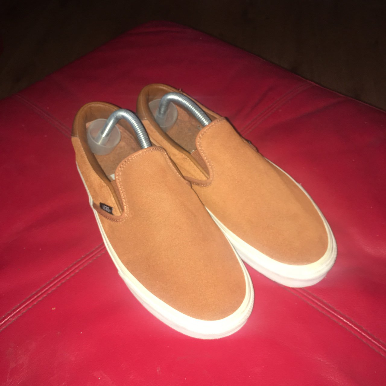 89bf6e7ba5c6 Vans slip on brown suede faux fur Size UK 7 Worn once in - Depop
