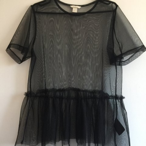 c5396ade214b6f H&M Sheer black frilly top. Size M Never worn, recently it - Depop