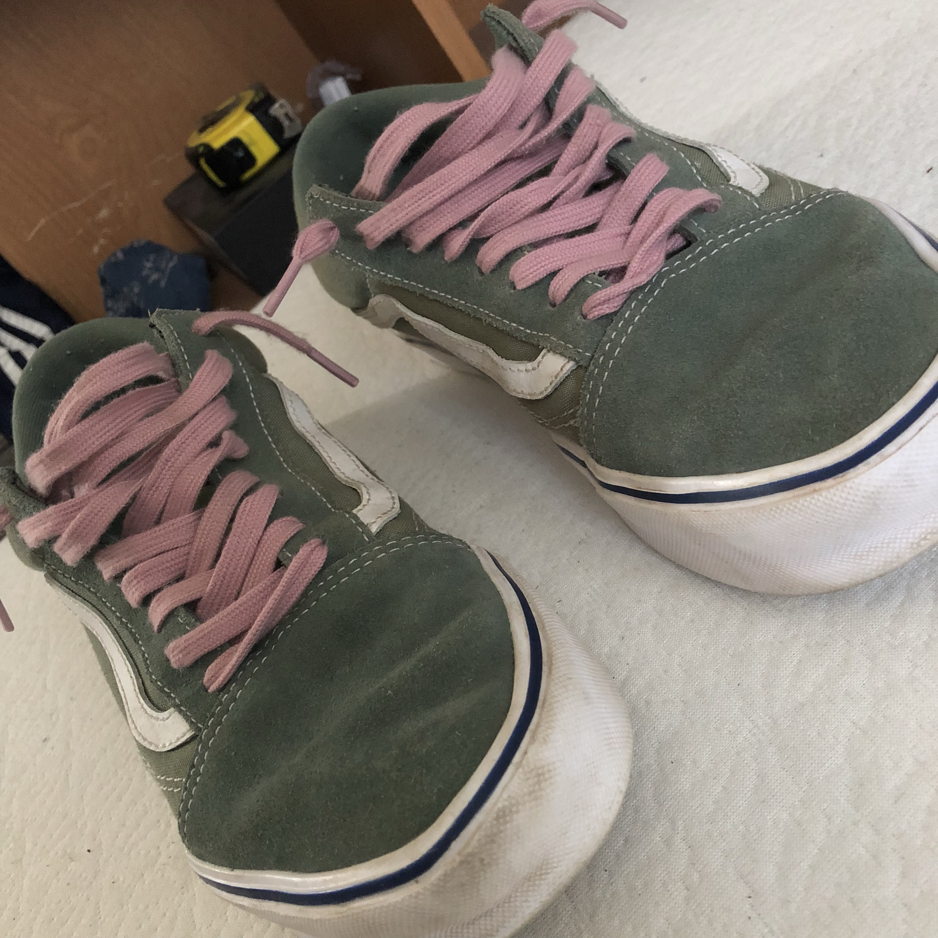 Vans Old Skool Green Vans With Pink Laces Sick Depop