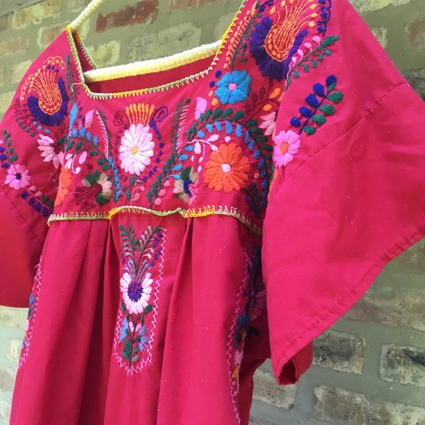7ab28c049e vintage 70s mexican party dress. hand enbroidered. true red - Depop