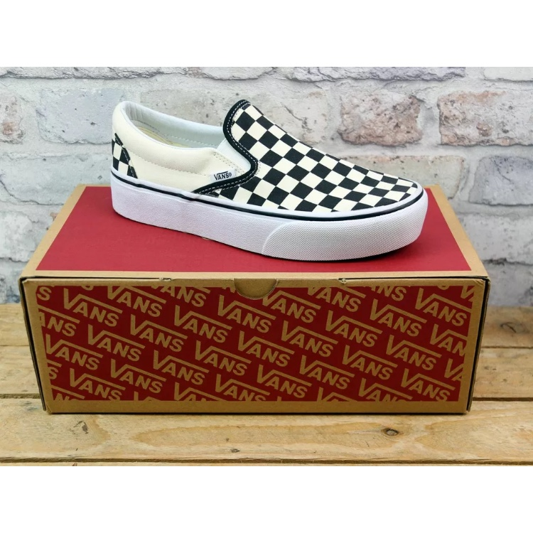 Vans Slip On Black & White Checkered Platform by Depop
