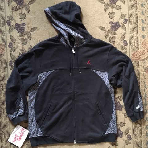 9a3be2490dcd Rare Vintage Nike Air Jordan 3 Retro Cement Zip Up Hoodie in - Depop