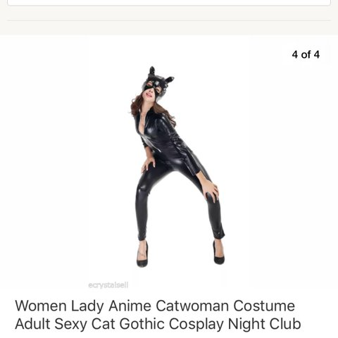 sc 1 st  Depop & Halloween costume Cat woman Black pvc catsuit Stretchy fit - Depop