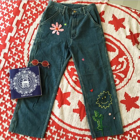 6398812fb50 Vintage hippie hand embroidered Carhartt jeans w a daisy, a - Depop