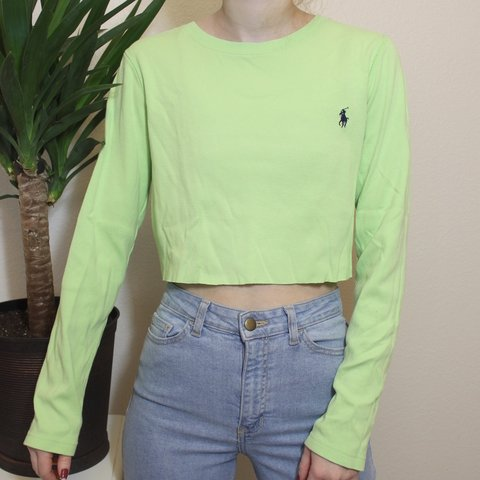 b36e4adbb bright green polo crop top • shipping is  5.75  depop - Depop