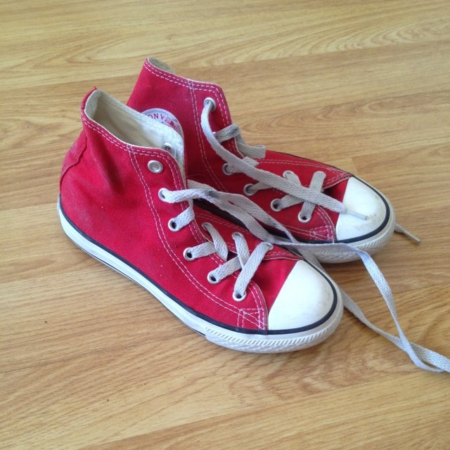 Kids red converse trainers. Size UK13-13.5. Worn but great - Depop 1b0eb3a7c