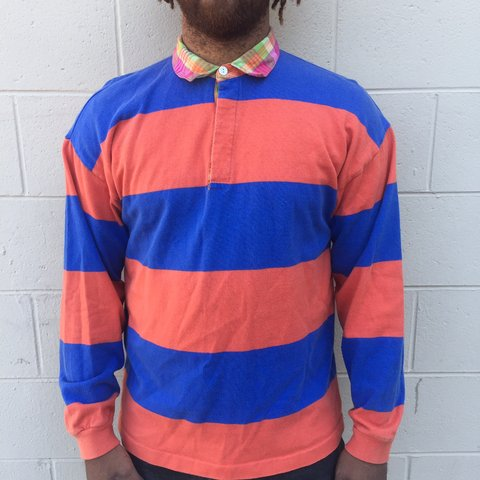 a58581281f6 @philadelphiared. yesterday. Philadelphia, United States. Vintage  Colorblock striped rugby style shirt by J.Crew Mens size L in worn but great  condition