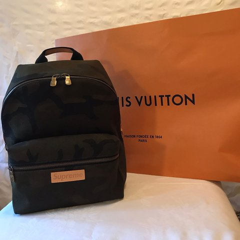 0391d6dcc5b3 Supreme x Louis Vuitton camo backpack Brand new all tags in - Depop