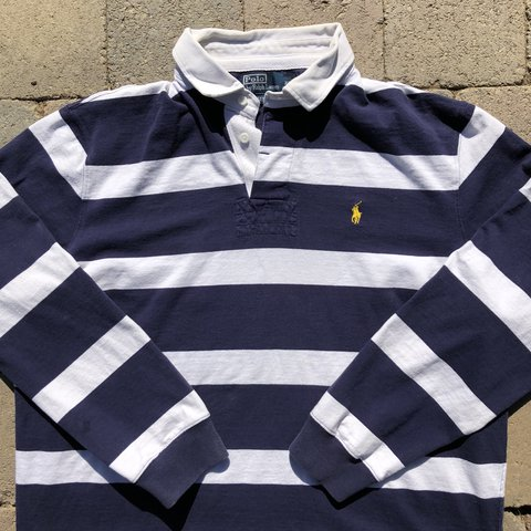 d0bc1b062f6 @starterovergucci. 10 months ago. Lompoc, United States. Vintage Polo Ralph  Lauren striped rugby long sleeve shirt ...