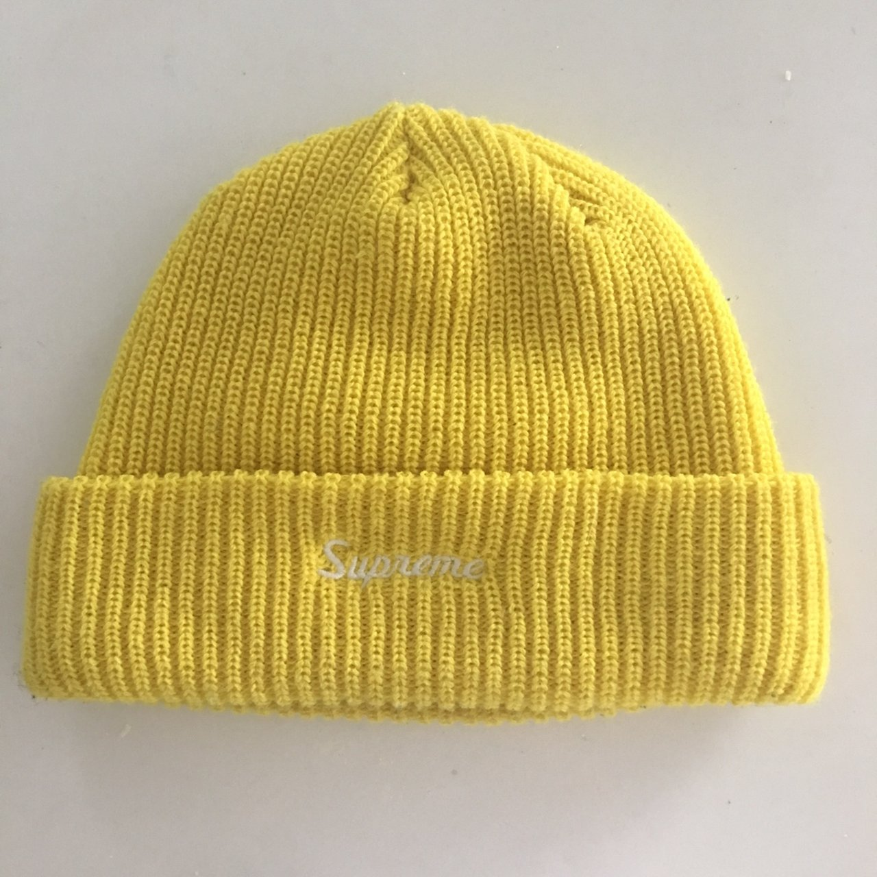 19255f527fa Supreme yellow FW18 beanie hat - never worn - Depop