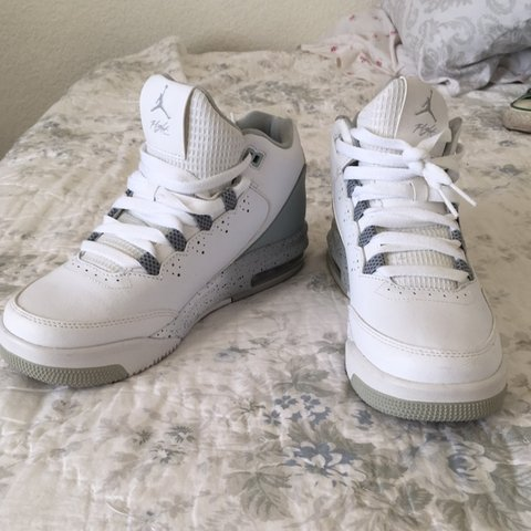7aba4f351d59 White and Grey Jordan Flights (selling for a friend) Size 7y - Depop