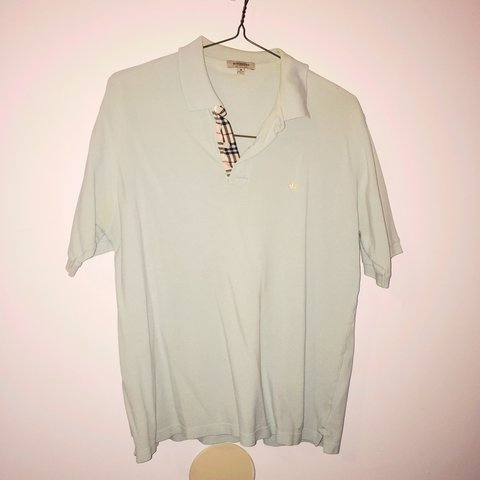 782d811f @maddiehew99. 3 years ago. United States. Vintage 100% Authentic Burberry  Brit Men's Polo Shirt in Light Baby Blue ...