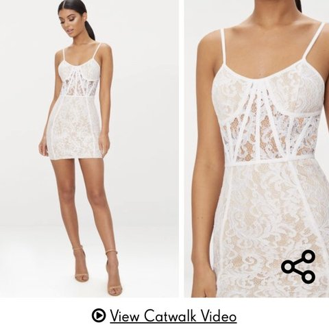 73b6be532c03 White lace mini bodycon dress XS. So flattering, corset type - Depop