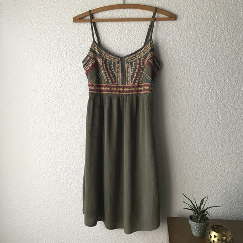 790329929d6a Maurices olive green spaghetti strap summer dress with to a - Depop