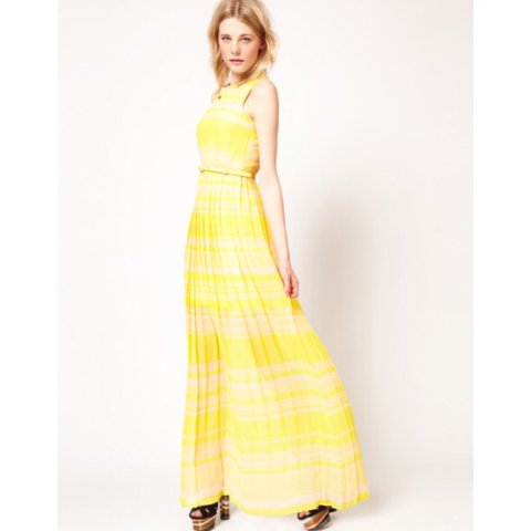 926064760b2 French Connection Yellow Pleated Maxi Dress. Never been worn - Depop
