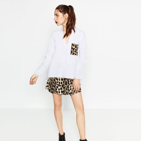7cf45b041b087 Zara leopard print pocket white blouse Size small Worn - Depop