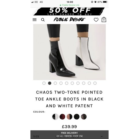 5ed38148c32 Public desire CHAOS two tone pointed ankle boots. Bought a - Depop