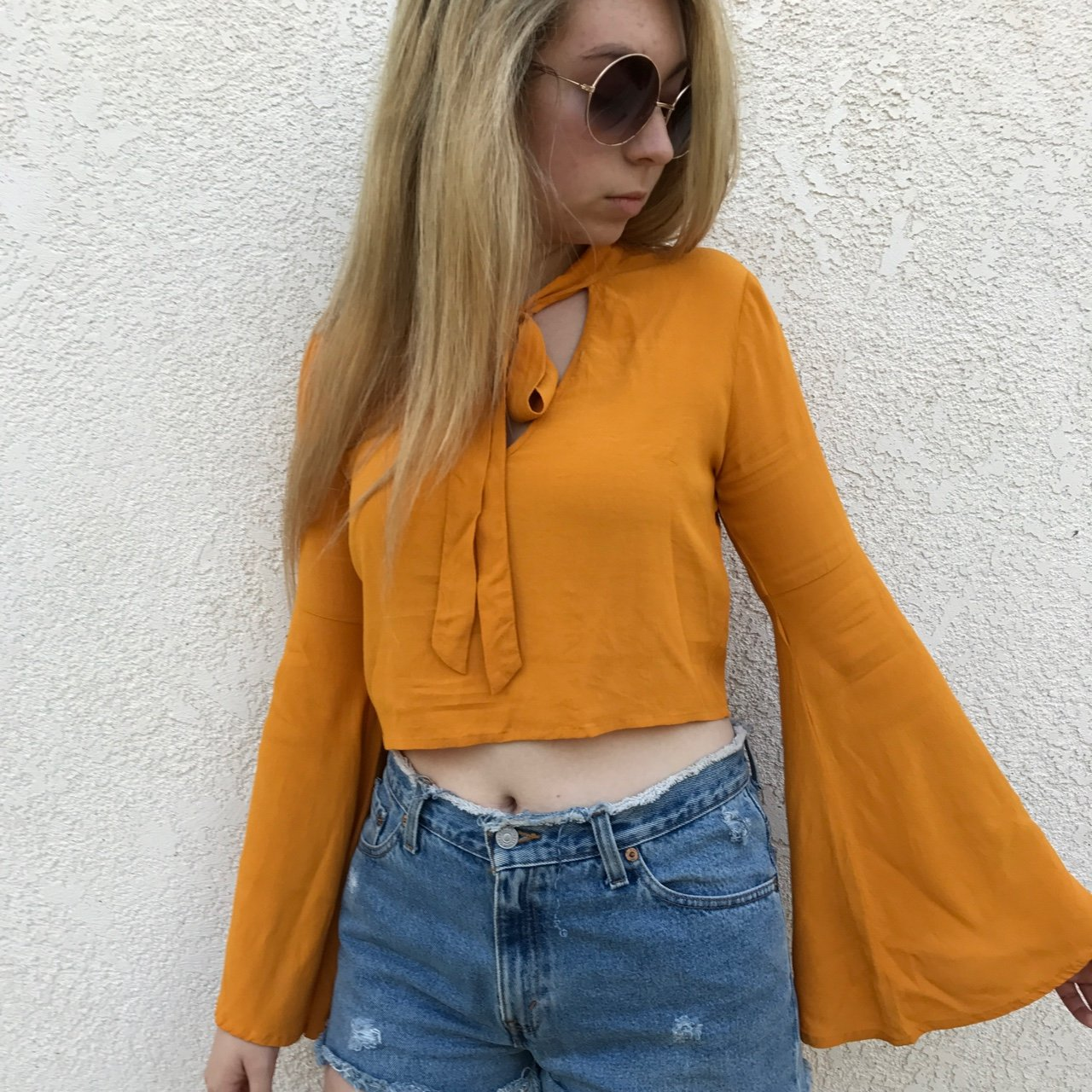 3ff266372811d Sunshine Bell Sleeve Crop Top! I love this blouse so much